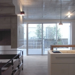 NS邸 ワンルーム空間のメゾネット住宅 (テラスとつながるリビングルーム)