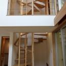 ナツミカンの木と家の写真 螺旋階段