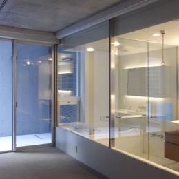 NS邸 ワンルーム空間のメゾネット住宅 (ガラスのバスルーム)