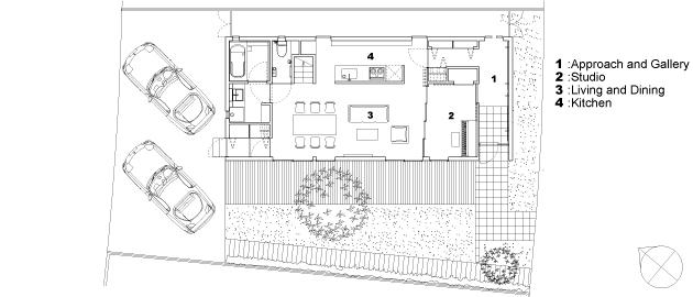 函の家の部屋 1階平面図
