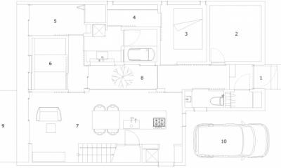 小さな中庭と大きな縁側|プライバシーを守りながら開放的に住む住宅【奈良県生駒市】 (1階平面図)