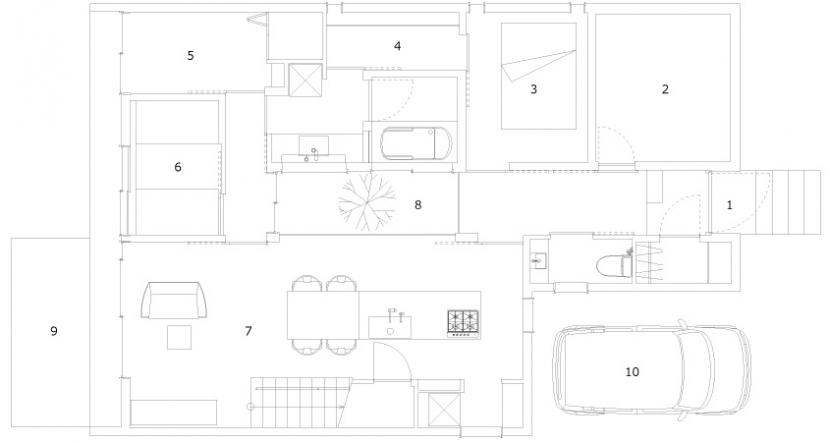小さな中庭と大きな縁側の部屋 1階平面図