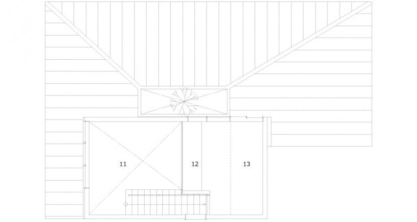 小さな中庭と大きな縁側|プライバシーを守りながら開放的に住む住宅【奈良県生駒市】 (2階平面図)