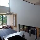 小さな中庭と大きな縁側 プライバシーを守りながら開放的に住む住宅【奈良県生駒市】の写真 吹抜と縁側のあるリビング