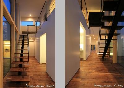 「BOX+庭+BOX」 (ホール・階段)