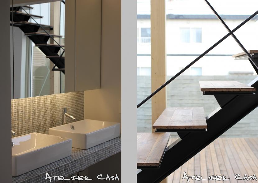 「BOX+庭+BOX」の部屋 洗面・階段