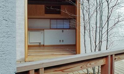 富田林の家 (中庭から寝室をみる)