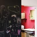 ショッキングピンクな洗面室