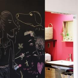 マンションリノベーション|名古屋市千種区F邸-ショッキングピンクな洗面室