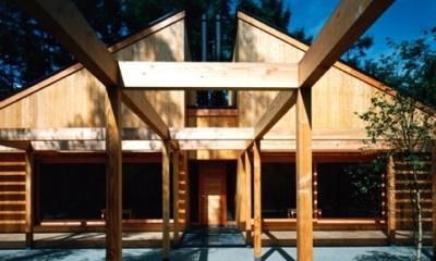 軽井沢の家2 (庭から外観)