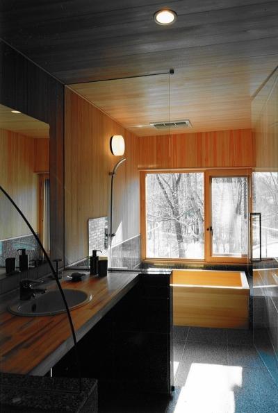 洗面、浴室 (軽井沢の家4)