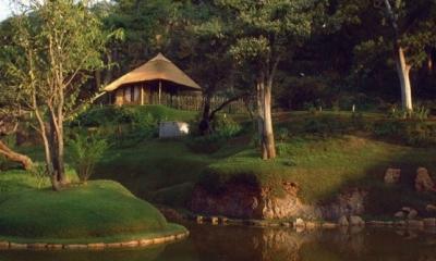 南アフリカの茶室 (外観ーh日本庭園から)