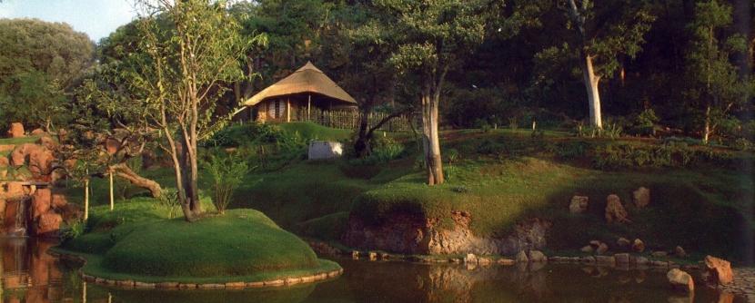 南アフリカの茶室の写真 外観ーh日本庭園から