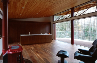 リビング、ダイニング、テラス (軽井沢の家10)