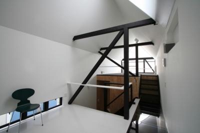 幅3mの家 スキップフロアのLD (リビングのデザイン・いろいろなあり方)