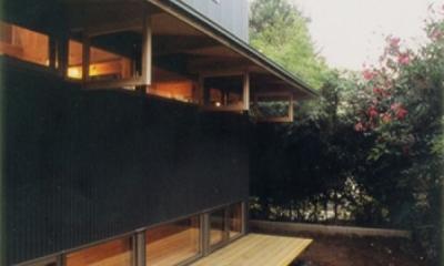 生成りのビルトインガレージハウス (敢えて庭側には閉じている外観。)