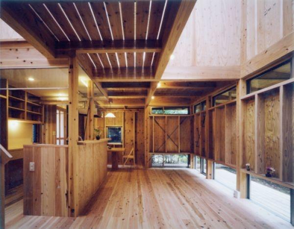 生成りのビルトインガレージハウス (内部でありながら、外部だと感じてしまう囲みの部屋)