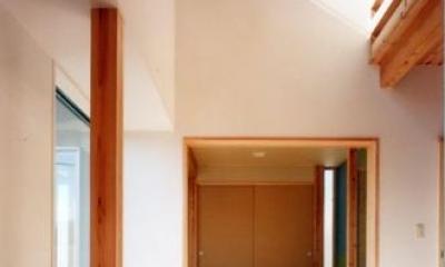 開放的、引戸を多用した木の家/川沿いの家 (吹抜けが繋ぐ家の要はリビングルーム)