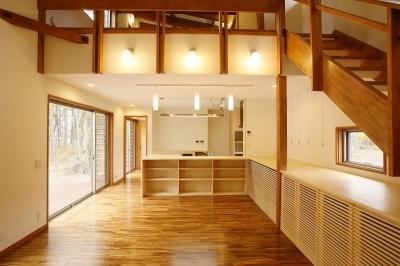 軽井沢 浅間山の家 (リビングダイニング)