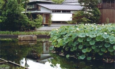 池にたたずむゲストハウス