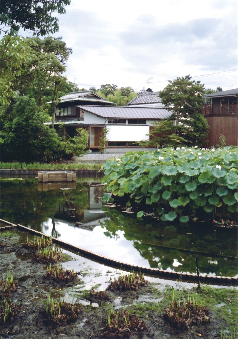 池にたたずむゲストハウスの部屋 池にたたずむ外観