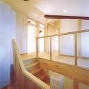 小屋梁を生かした階段