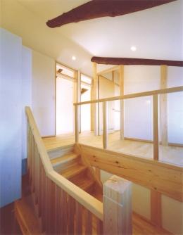 古民家の再生 (小屋梁を生かした階段)