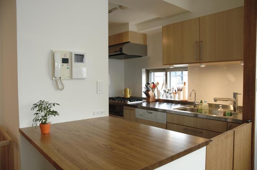 S邸・こだわりをたっぷり詰め込んだ、無垢材の温もり溢れる空間 (キッチンカウンター)