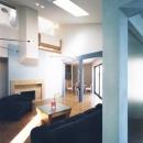 ブルーカラーがポイント、勾配天井のリビング・その1
