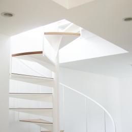螺旋階段の家 (吹き抜けの螺旋階段)