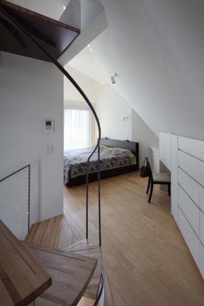寝室 (狭小変形敷地を使い尽くした家)