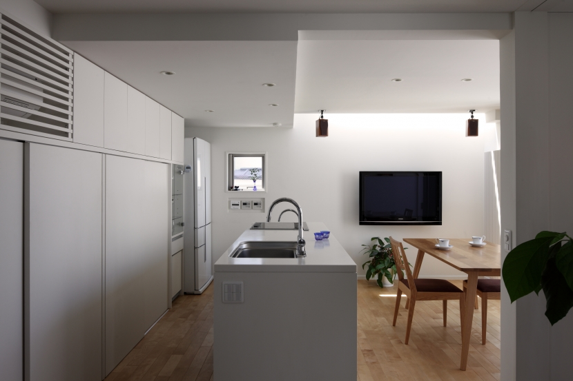狭小変形敷地を使い尽くした家の写真 アイランドキッチン