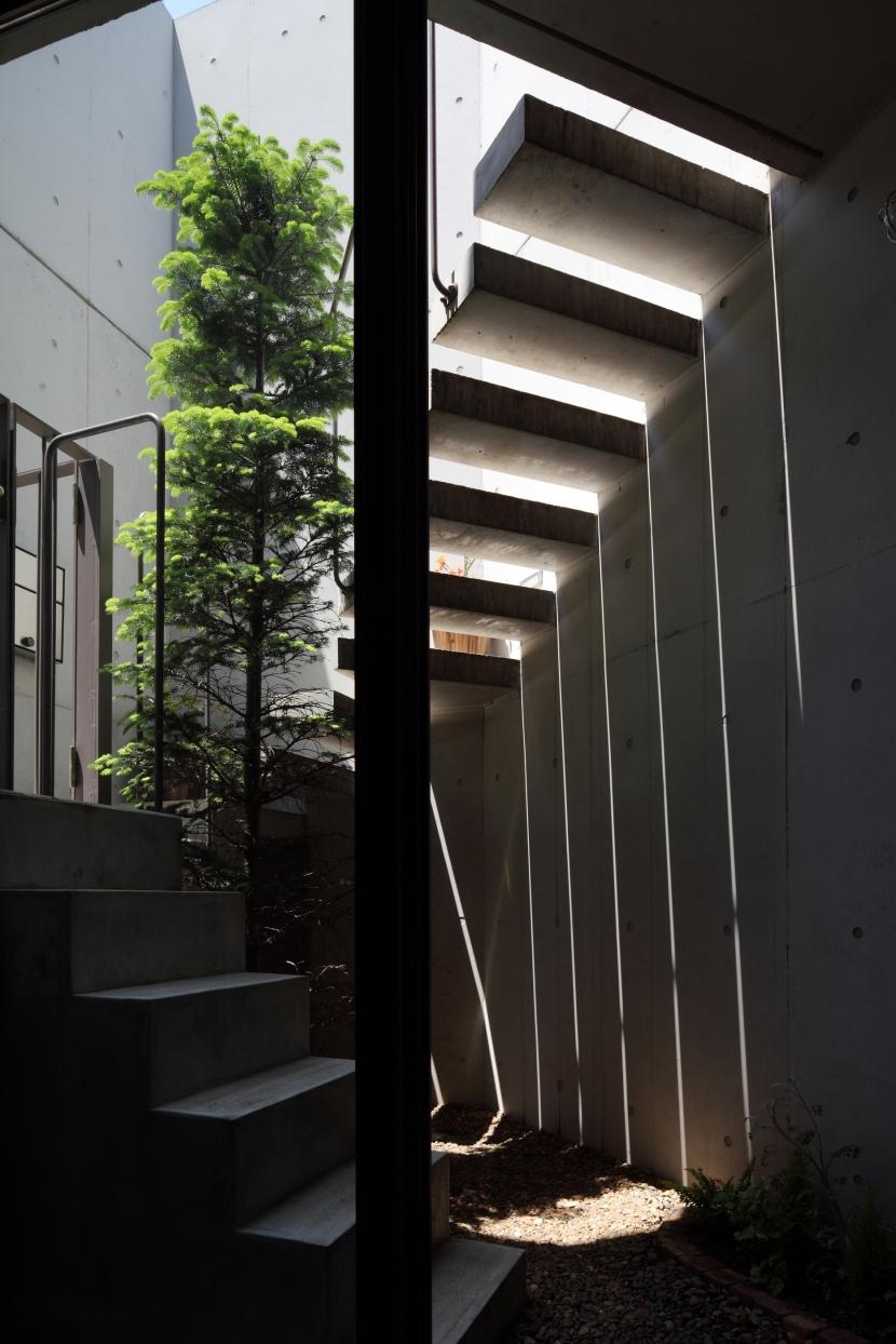 狭小変形敷地を使い尽くした家の写真 ドライエリア
