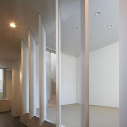∩∪ (and or) (玄関ホールに面した部屋の建具を開いて光を取り入れる)