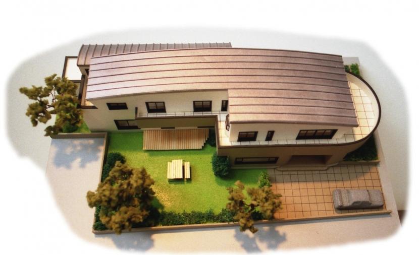 二世帯住宅+家業のオフィス付き-Maの部屋 模型写真-2