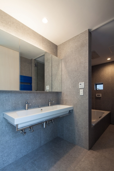 planar house (洗面脱衣室と浴室)