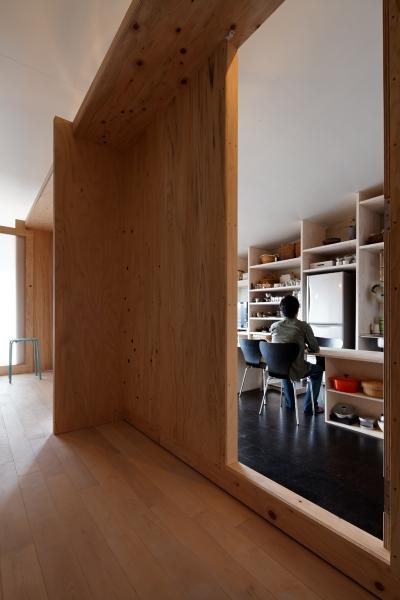 ノビルームからの眺め (勾配天井の家 -いえづくりワークショップとDIY施工の参加型リノベ-)