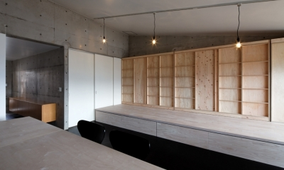 勾配天井の家 -いえづくりワークショップとDIY施工の参加型リノベ- (リビングの眺め)
