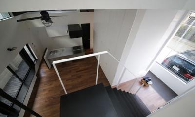ハコノオウチ04 2.5世帯住宅 (階段吹抜見下ろし)