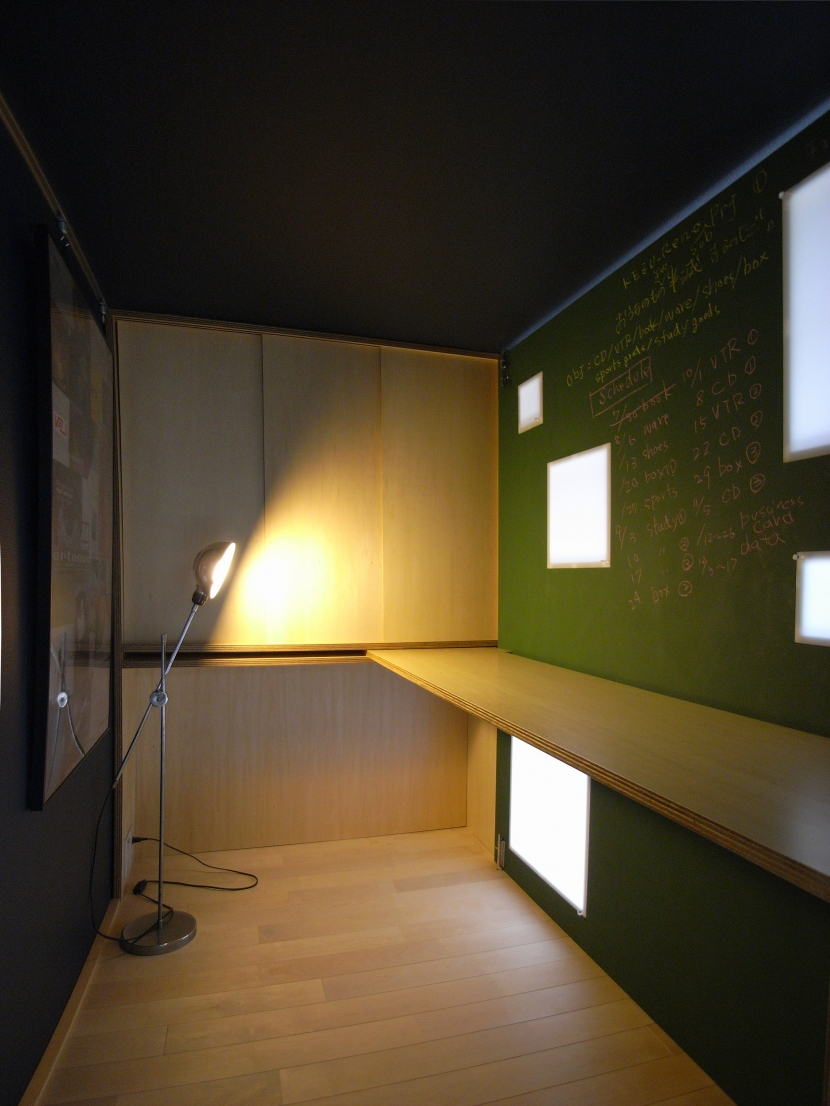 可動本棚の家の部屋 書斎