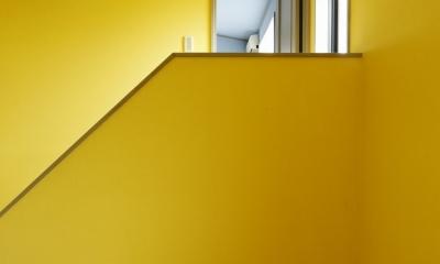 T邸・室内も窓からの緑も・・・色彩溢れる毎日を暮らす (階段)