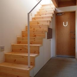 玄関を広くする階段 (栃木県高根沢町・周囲を気にせず内側で暮らす家|UC house)