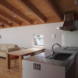 栃木県高根沢町・周囲を気にせず内側で暮らす家|UC house (リビングを一望するキッチン)