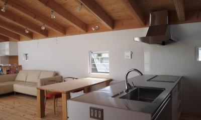 内側で開放的に暮らす家|UC house (リビングを一望するキッチン)