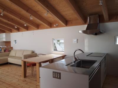 内側で開放的に暮らす家 UC house (リビングを一望するキッチン)