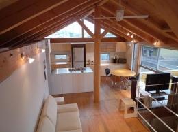 群馬県館林市・ガレージとソト土間のある家|Beetle House (2階リビング)