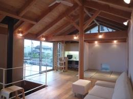 群馬県館林市・ガレージとソト土間のある家|Beetle House (2階リビング・ワークスペース・タタミルーム)