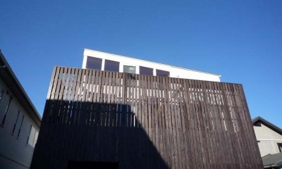 ソラを取り込んだ家|空の家 (板張りの外壁でプライバシーを確保)
