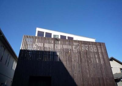 板張りの外壁でプライバシーを確保 (ソラを取り込んだ家|空の家)