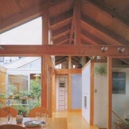 ソトを取り込んで暮らす家|かなちゃんち (2階リビング)